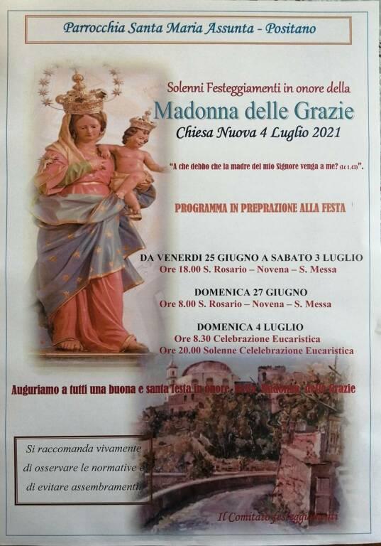 Positano, in Parrocchia i Festeggiamenti in onore della Madonna delle Grazie: il programma