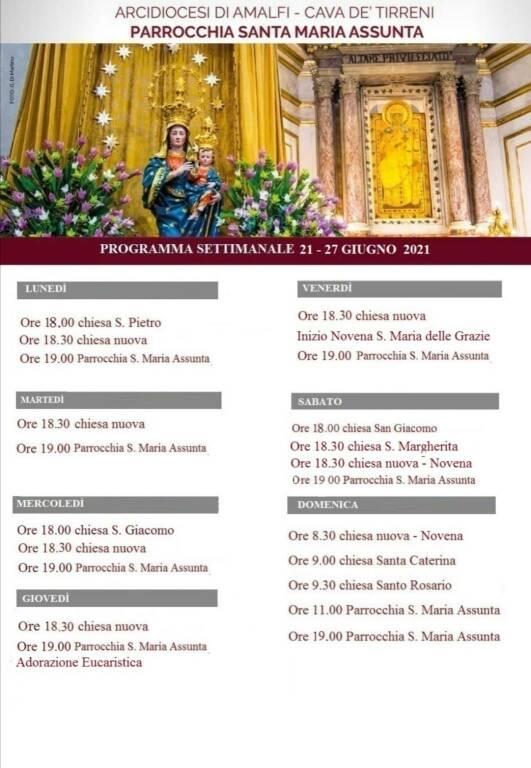 Positano, Parrocchia Santa Maria Assunta: il programma delle Celebrazioni Religiose della settimana