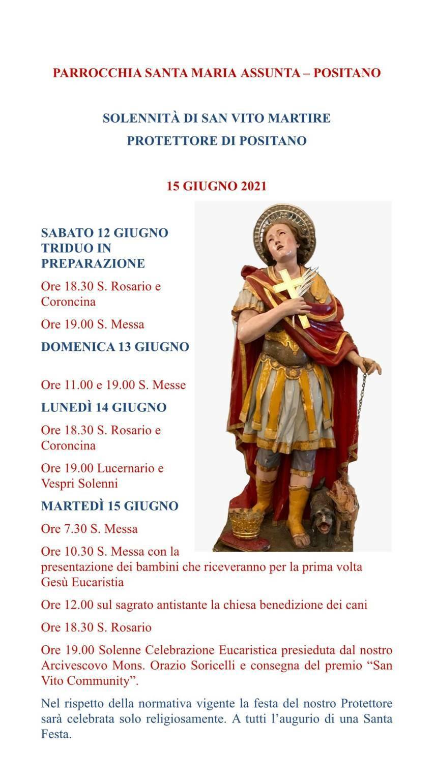 Positano, Parrocchia Santa Maria Assunta: il programma per la Solennità di San Vito Martire