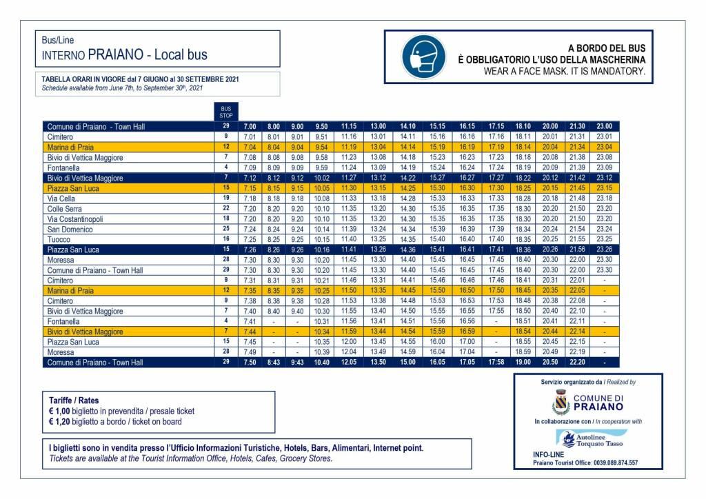 Praiano, il nuovo orario del servizio di trasporto interno in vigore da lunedì 7 giugno