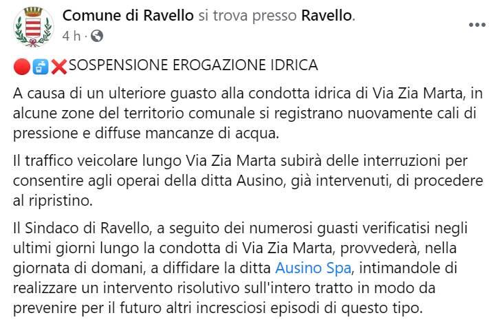 Ravello, ancora problemi alla condotta d'acqua a Via Zia Marta: il sindaco pronto a diffidare Ausino