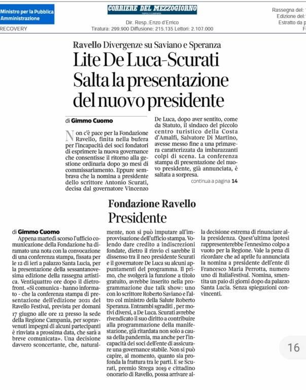 Ravello Festival lite De Luca Scurati per Saviano corriere del mezzogiorno