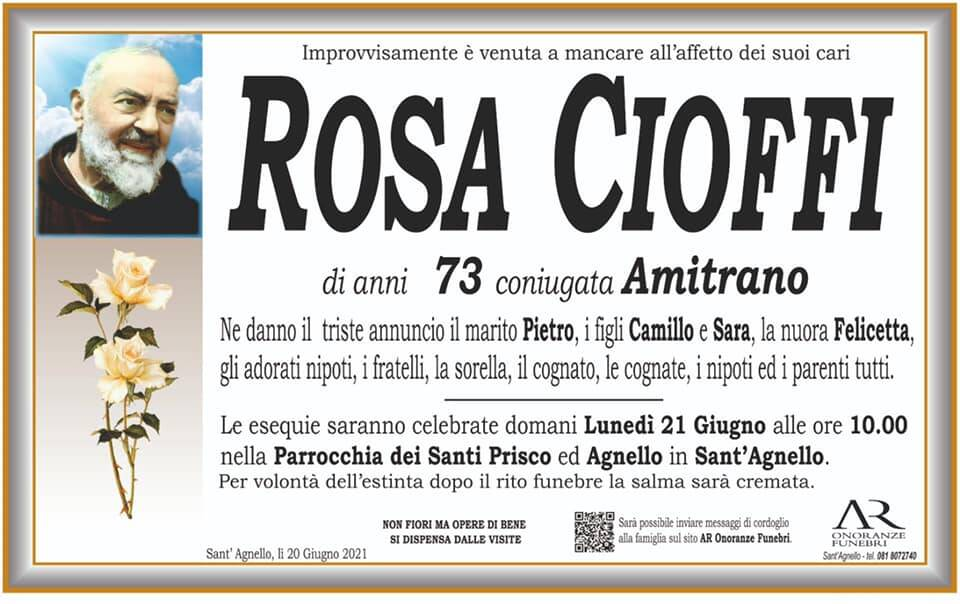 Sant'Agnello piange la scomparsa della 73enne Rosa Cioffi, coniugata Amitrano