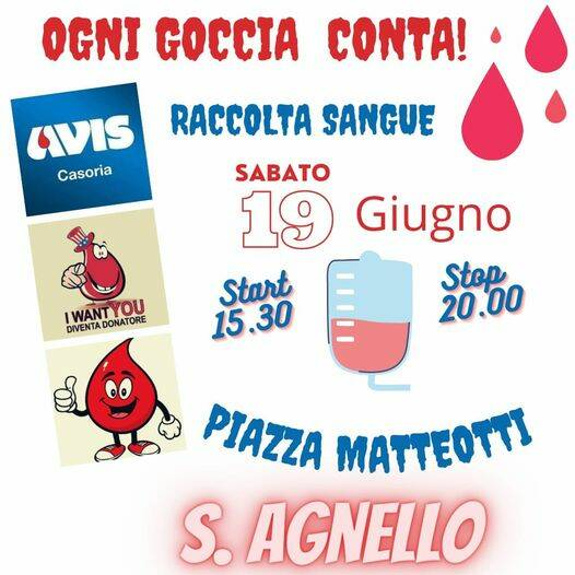 Sant'Agnello, sabato 19 giugno in Piazza Matteotti postazione per la donazione del sangue