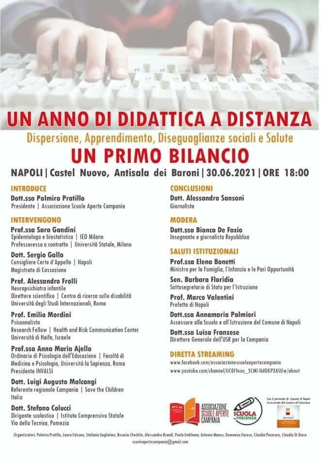 """Scuola: """"Un anno di didattica a distanza"""", mercoledì il convegno a Napoli"""