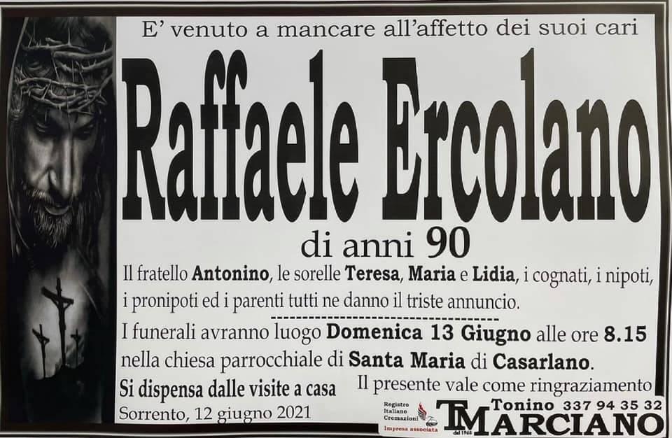Sorrento, all'età di 90 anni ci lascia Raffaele Ercolano