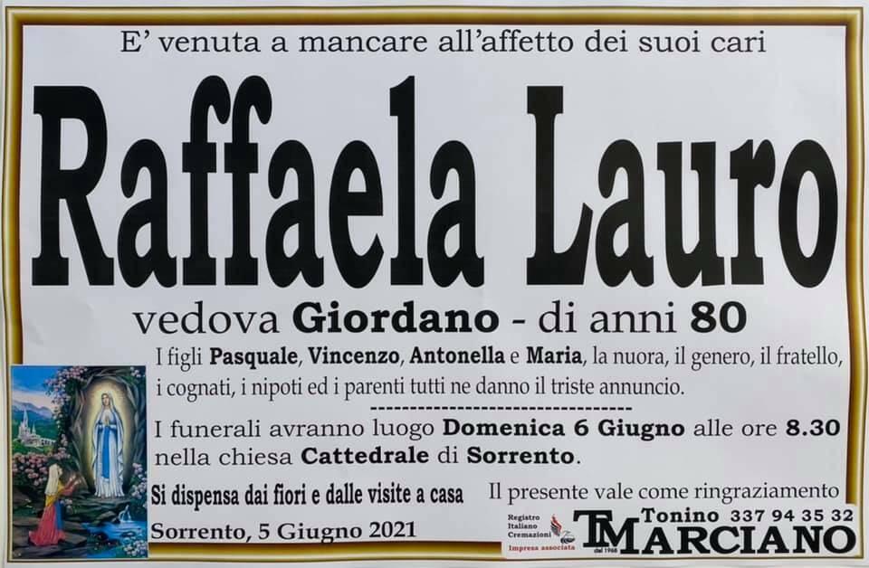 Sorrento piange la scomparsa dell'80enne Raffaela Lauro, vedova Giordano