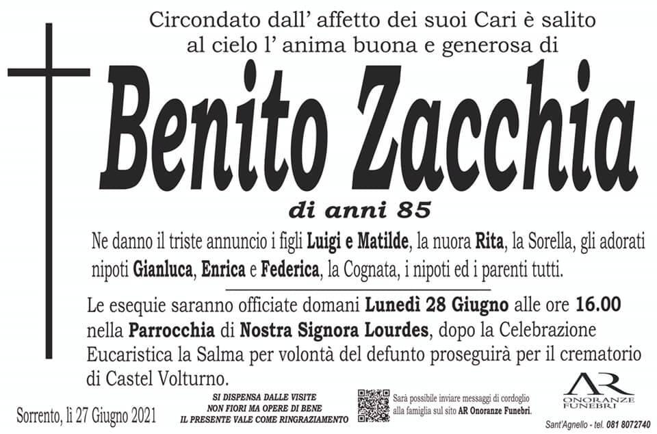 Sorrento piange la scomparsa dell'85enne Benito Zacchia