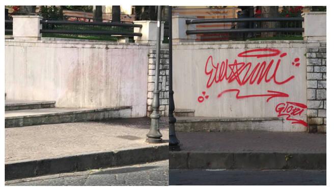 Sorrento, ripulita Piazza della Vittoria e cancellati gli sfregi realizzati con la vernice rossa