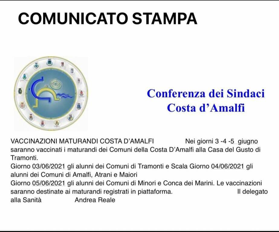 Vaccinazione maturandi: ecco il calendario per la Costiera Amalfitana