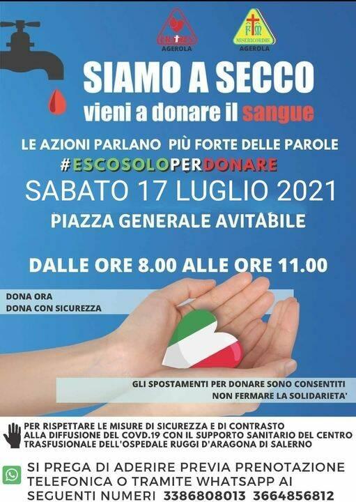 Agerola, sabato 17 luglio in Piazza Generale Avitabile postazione per la donazione del sangue