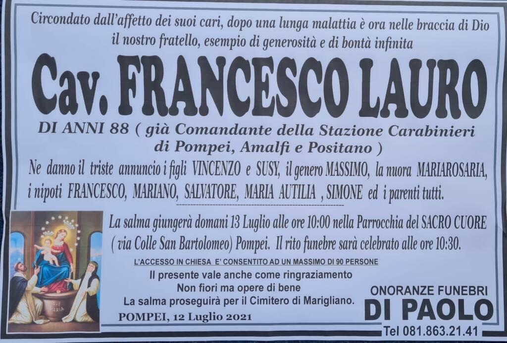 All'età di 88 anni ci ha lasciato il Cav. Francesco Lauro, Comandante dei Carabinieri di Pompei, Positano ed Amalfi