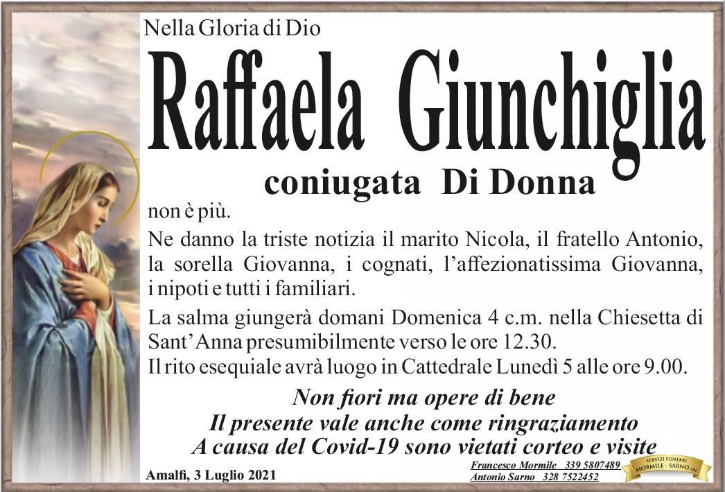 Amalfi piange Raffaele Giunchiglia, coniugata Di Donna