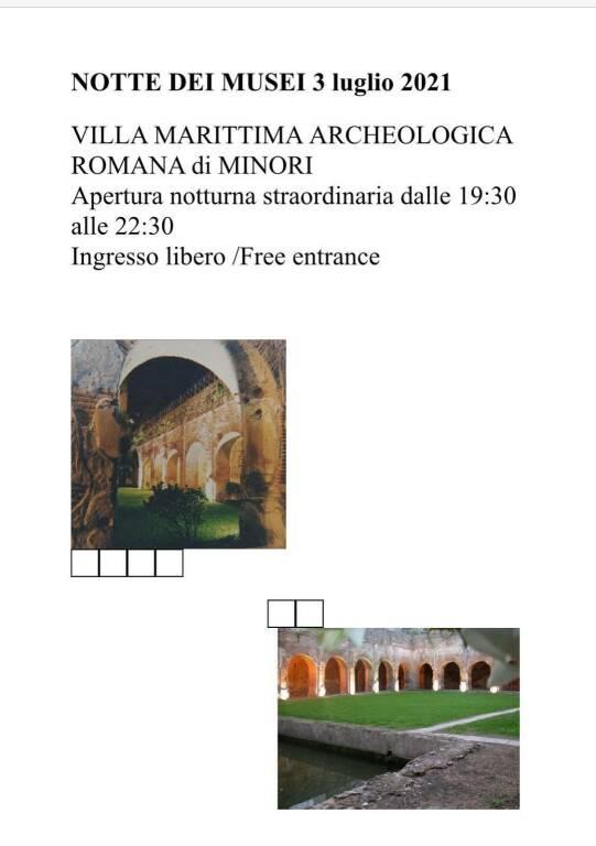 Apertura straordinaria della Villa Romana Archeologica di Minori. I dettagli