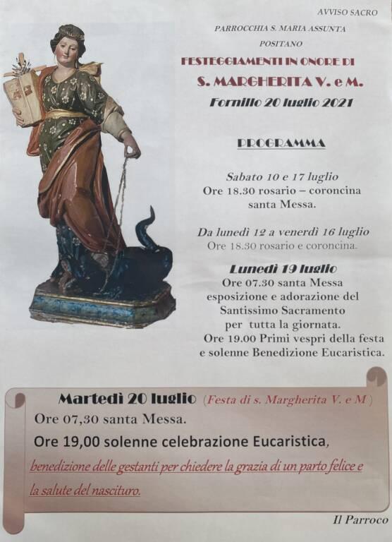 Positano : il quartiere di Fornillo si prepara a celebrare la festa di s. Margherita d'Antiochia V. e M. protettrice delle gestanti.