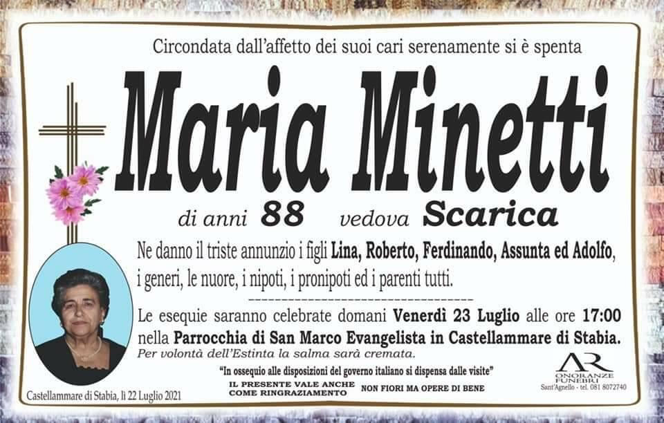 Castellammare di Stabia: all'età di 88 anni si è spenta Maria Minetti, vedova Scarica