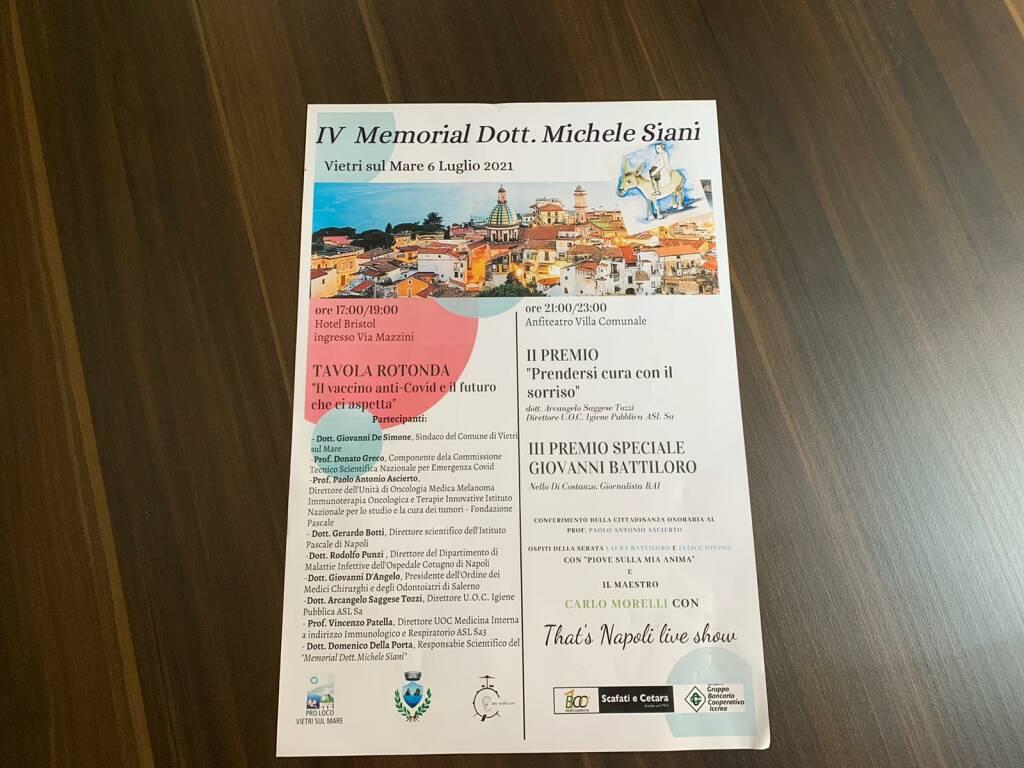 """Compie 4 anni il """"Memorial dott. Michele Siani"""". L'appuntamento è per il 6 luglio p.v. a Vietri sul Mare"""