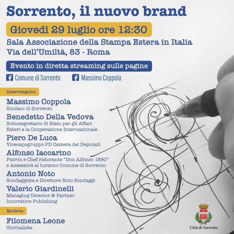 Il 29 luglio, a Roma, la presentazione del nuovo brand Sorrento