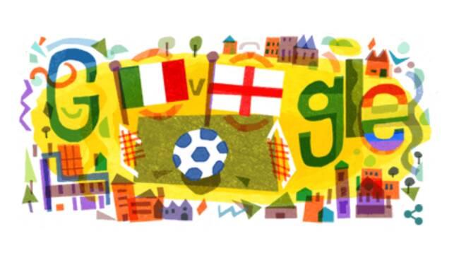 Il Doodle di Google di oggi dedicato alla finale degli Europei di Calcio
