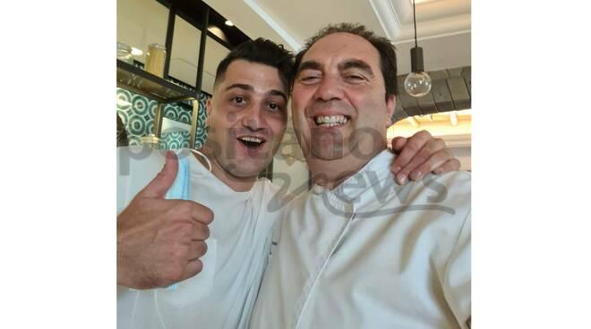 Luigi Stinga con Mimmo De Gregorio, due grandi della ristorazione di Sant'Agata