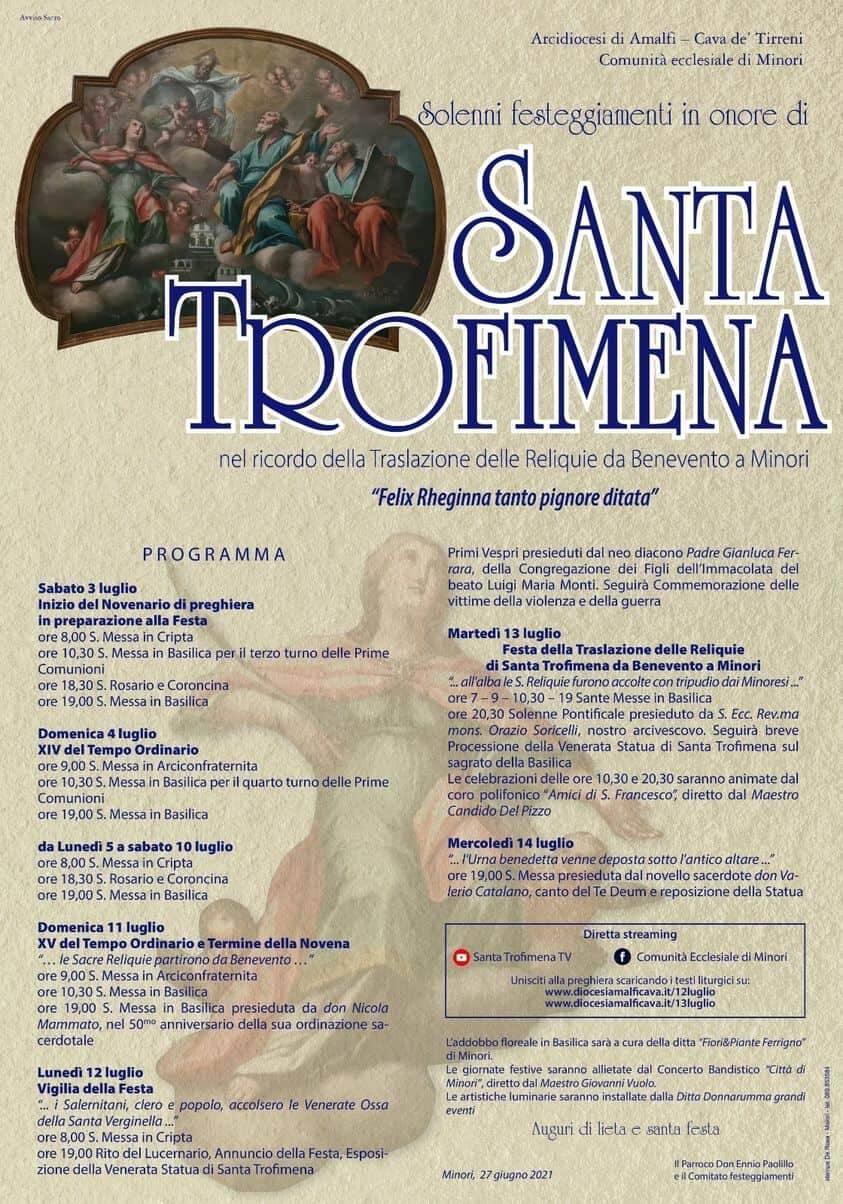 Minori si prepara per festeggiare Santa Trofimena: il programma