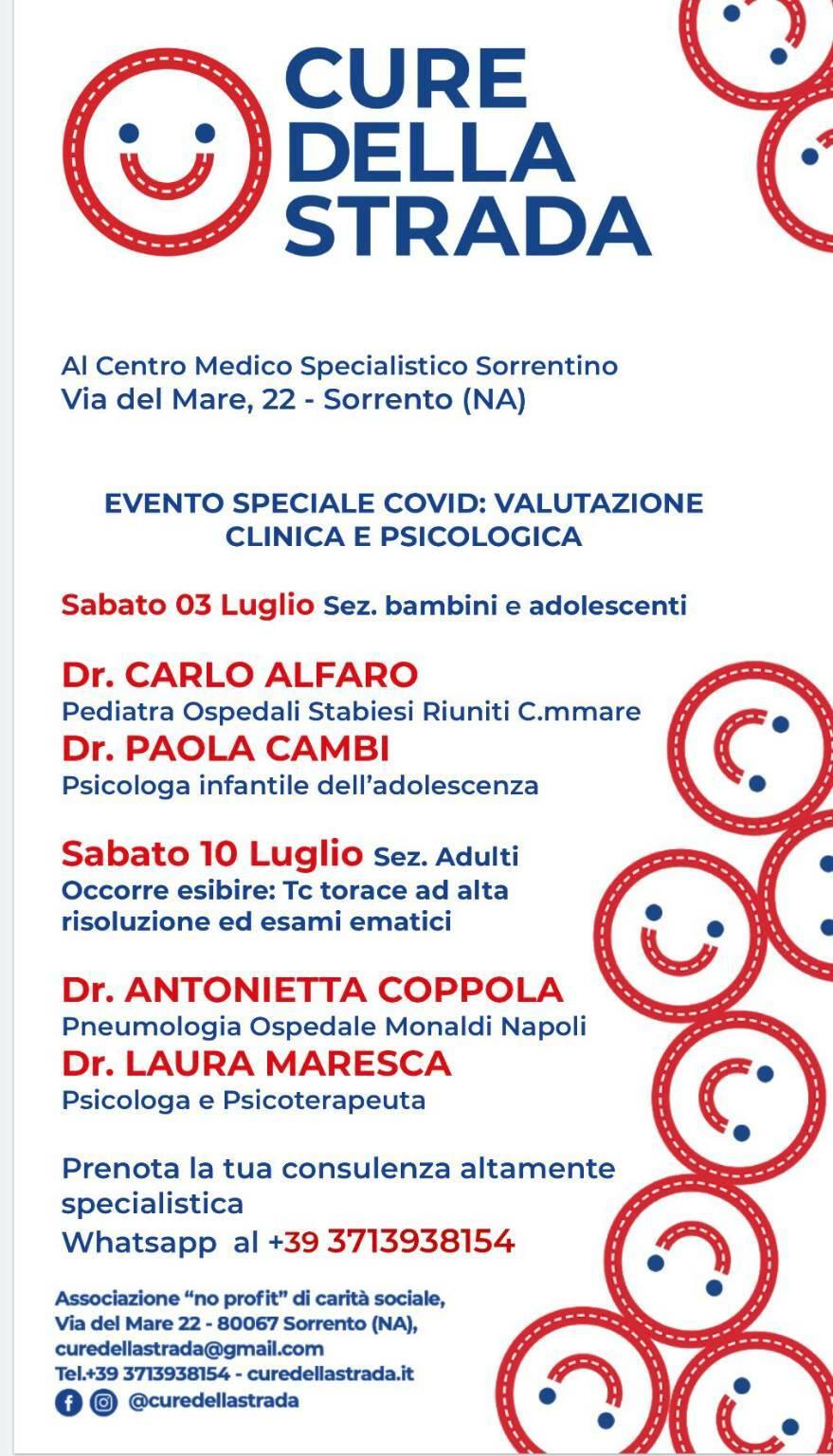 """Penisola Sorrentina, """"Cure della strada"""" presenta: Speciale Covid- Tornare alla vita"""