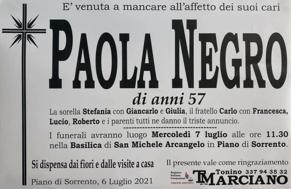 Piano di Sorrento, ci lascia la 57enne Paola Negro