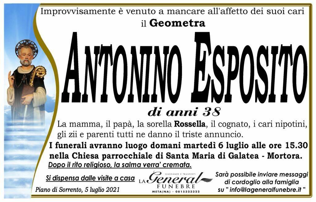 Piano di Sorrento in lutto: all'età di 38 anni è venuto a mancare il Geometra Antonino Esposito