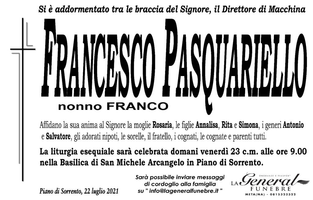 """Piano di Sorrento piange la perdita di Francesco Pasquariello """"nonno Franco"""""""