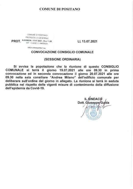 Positano: convocato il Consiglio Comunale il 19 luglio