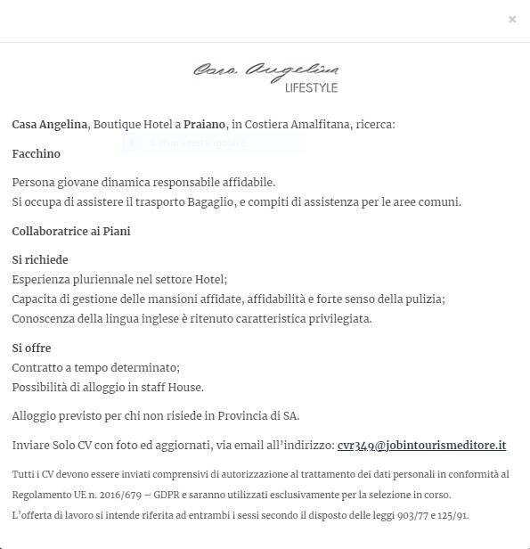 Praiano: Casa Angelina in cerca di facchino e collaboratrice ai piani