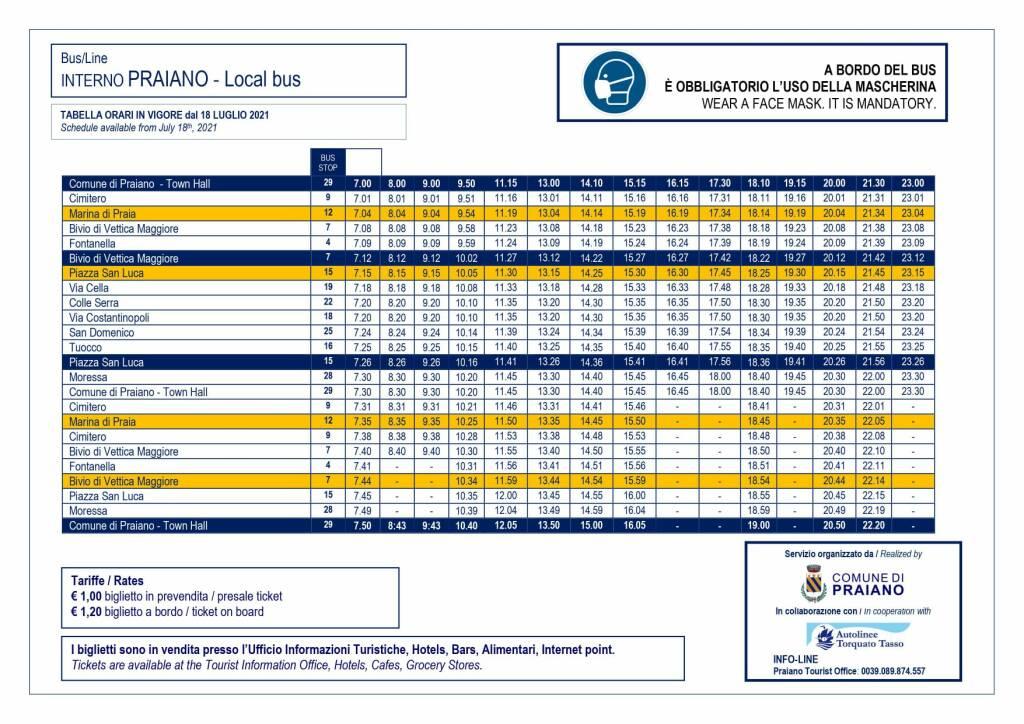 Praiano, da domani in vigore il nuovo orario del servizio di trasporto interno