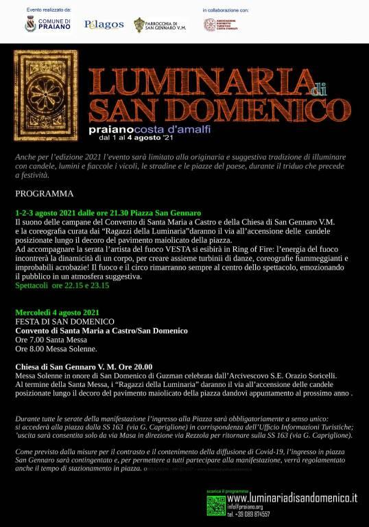 Praiano: dal 1 al 4 agosto le Luminarie di San Domenico