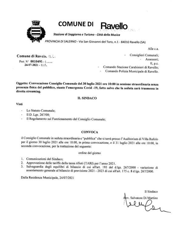 Ravello, convocato il Consiglio Comunale per il 30 luglio. Ecco i temi all'Ordine del Giorno