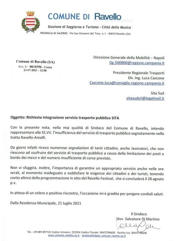 Ravello, il sindaco chiede un'integrazione del servizio di trasporto pubblico sulla tratta Ravello-Amalfi