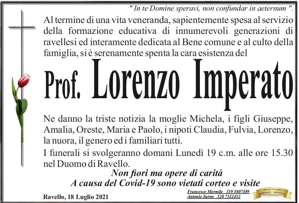 Ravello in lutto: domani i funerali del prof. Lorenzo Imperato