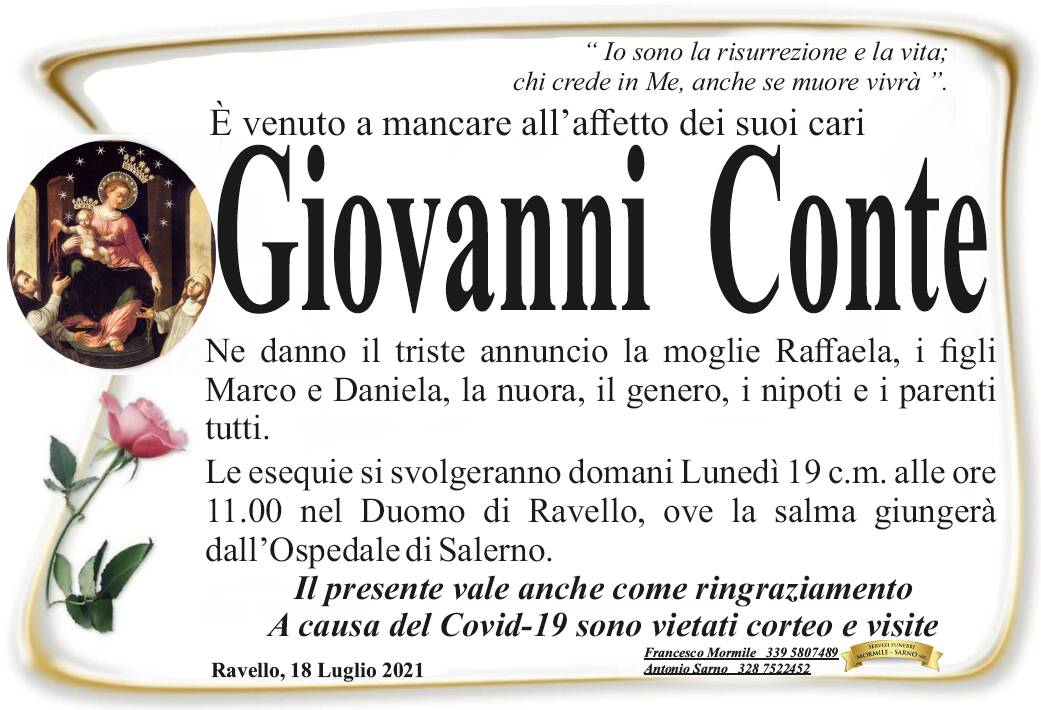 Ravello in lutto: è venuto a mancare Giovanni Conte
