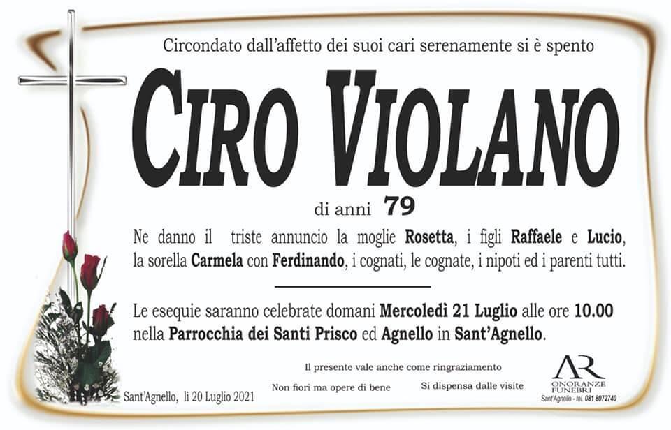 Sant'Agnello porge l'estremo saluto al 79enne Ciro Violano