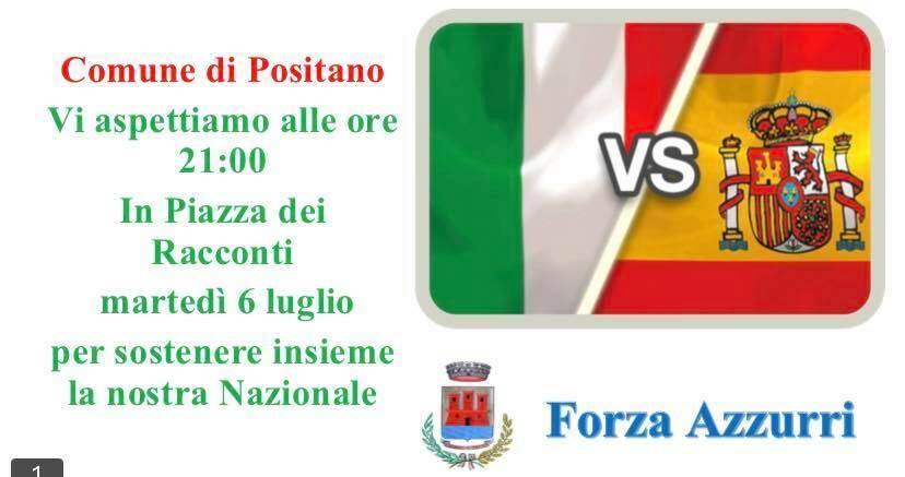 Semifinale Europei: a Positano il maxi schermo in Piazza dei Racconti per la partita dell'Italia
