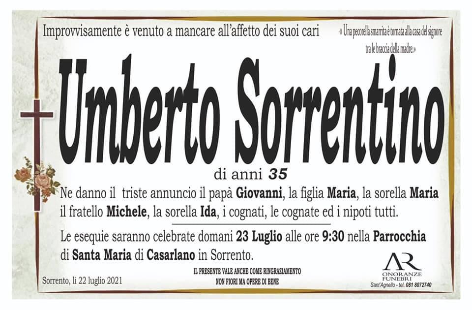 Sorrento piange l'improvvisa scomparsa del 35enne Umberto Sorrentino