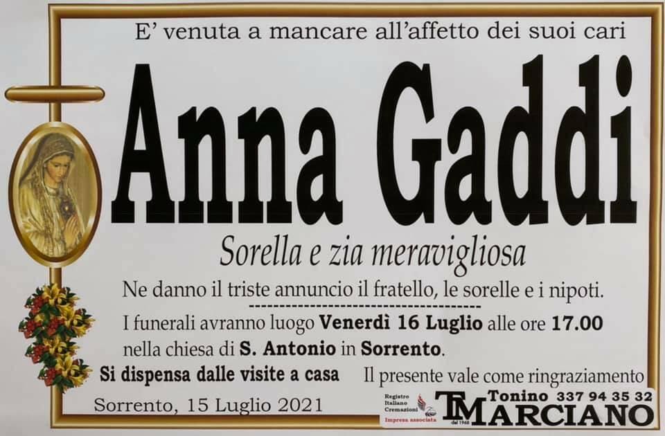 Sorrento porge l'estremo saluto ad Anna Gaddi