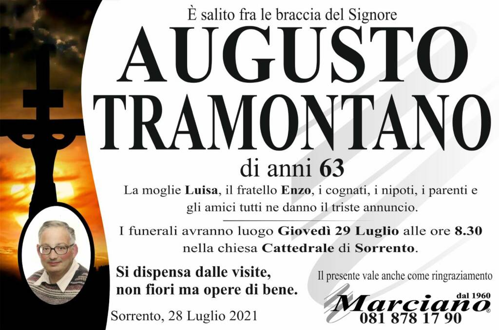 Sorrento porge l'estremo saluto al al 63enne Augusto Tramontano