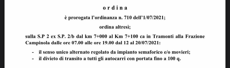 Tramonti, dal 12 luglio in località Campinola senso unico alternato regolato da impianto semaforico
