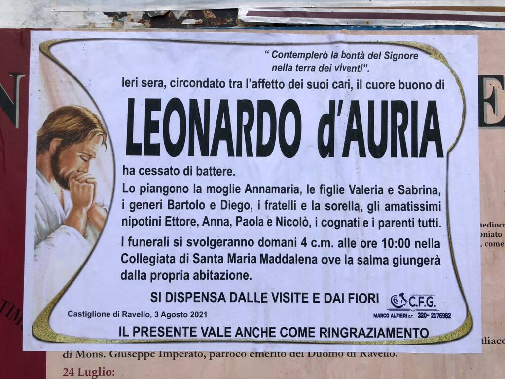 Addio a Leonardo d'Auria, tristezza tra Castiglione di Ravello e Maiori