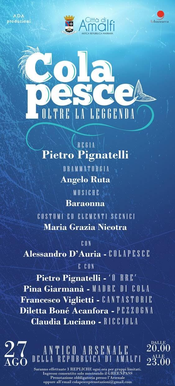 """Amalfi, all'Antico Arsenale in scena """"Colapesce: oltre la leggenda"""""""