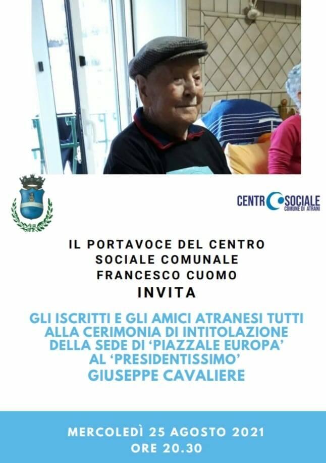 Atrani: mercoledì 25 agosto la cerimonia di intitolazione del Centro Sociale comunale a Giuseppe Cavaliere