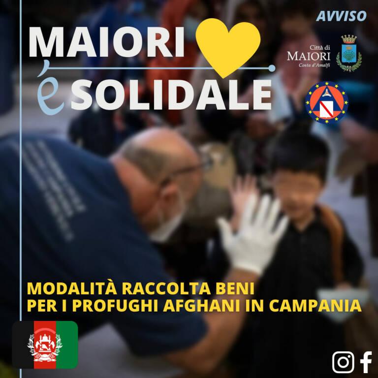 Comune di Maiori. Modalità raccolta beni per i profughi afghani in Campania