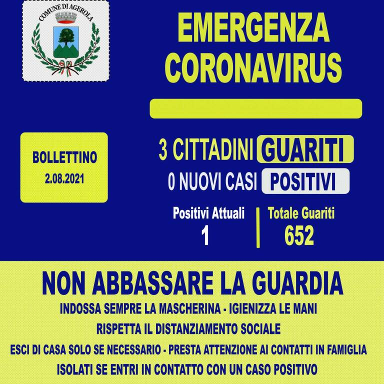 Coronavirus: oggi 3 guariti, ad Agerola resta solo un cittadino ancora positivo