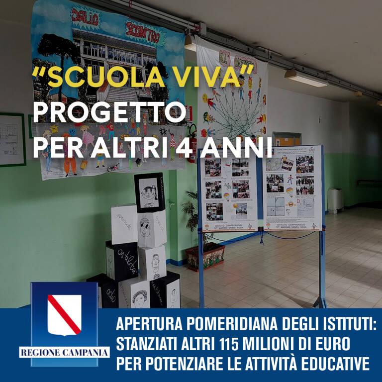 """La Giunta della Regione Campania approva la proposta progettuale """"Scuola Viva"""""""