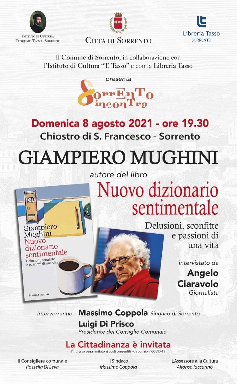"""Libri. Sorrento, Giampiero Mughini presenta il """"Nuovo dizionario sentimentale"""""""